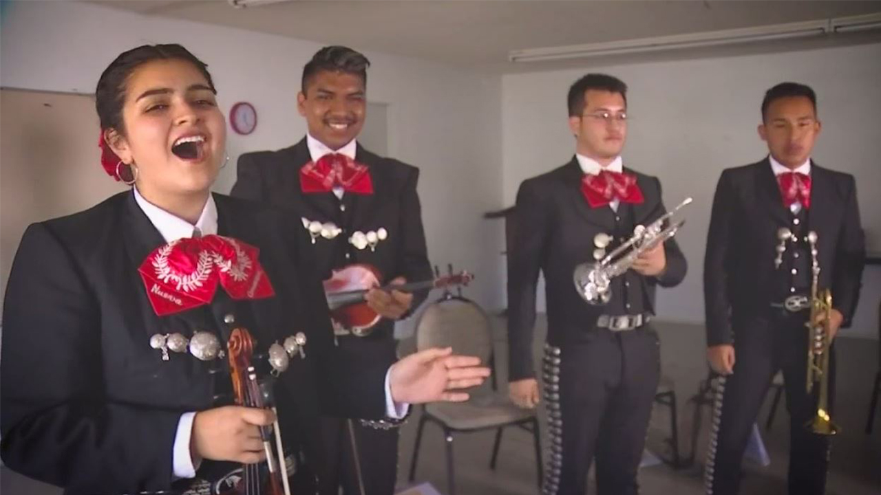 A Mariachi band performs as part of a music program started my musician Jose Hernandez in the hope of connecting Latino children to the music of their homeland.