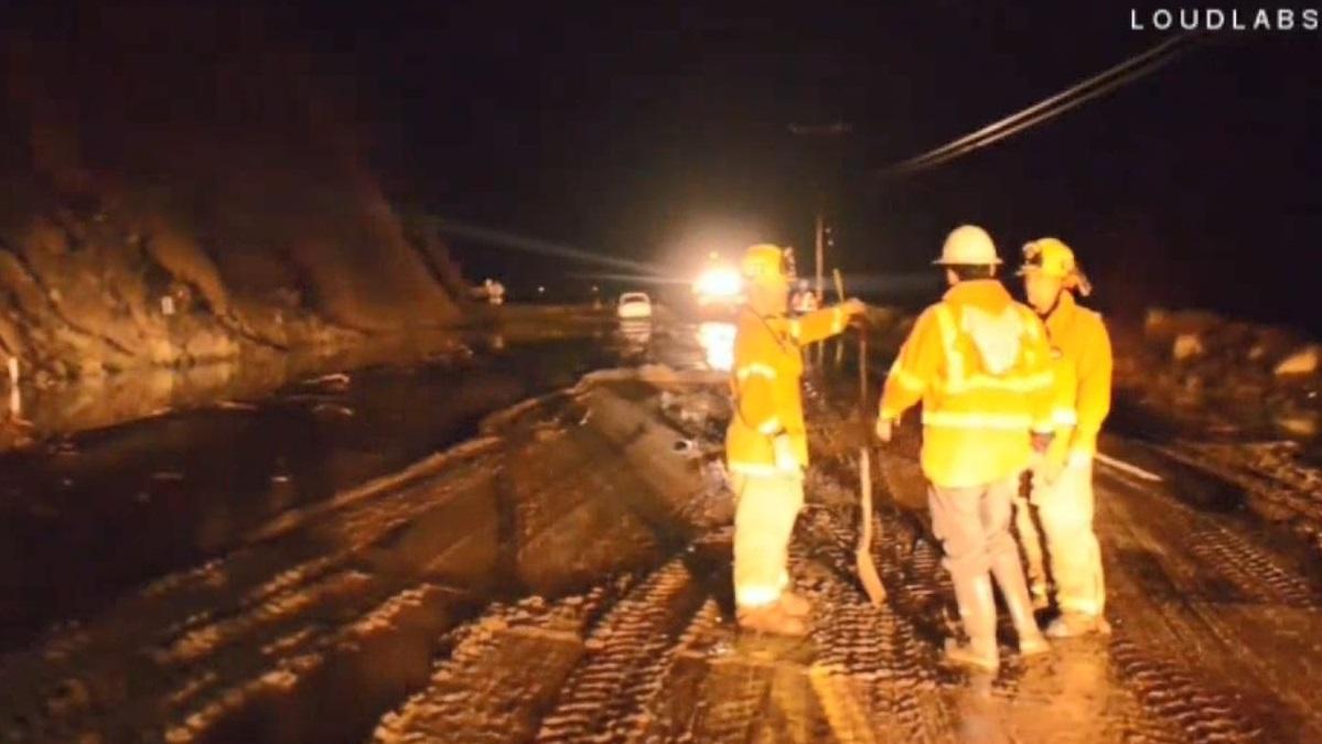 Mudslides shut down Pacific Coast Highway near Malibu on Jan. 5, 2019.
