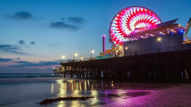 Hello, 2019: The biggest countdown around is happening on the side of the Pacific Wheel at Santa Monica Pier during the final minute of 2018.