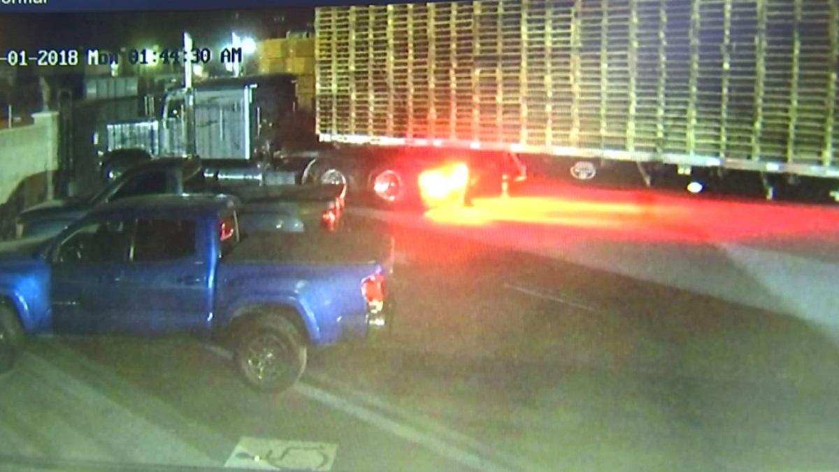 A semitrailer is stolen from a pallet yard following an assault in Fontana.