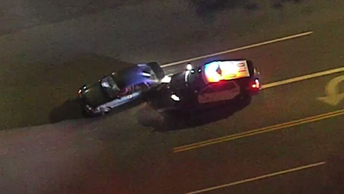 Police ended a chase in the San Fernando Valley with a PIT maneuver Monday night.