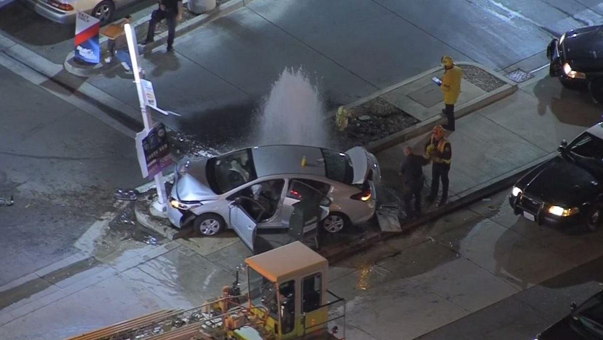 Car Crashes Into Hydrant to End Police Pursuit