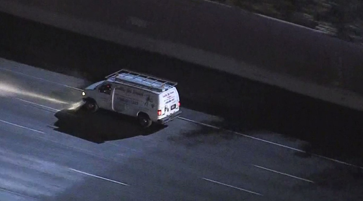 A van police pursuit starts in Van Nuys and travels through Hollywood on Jan. 9, 2019.