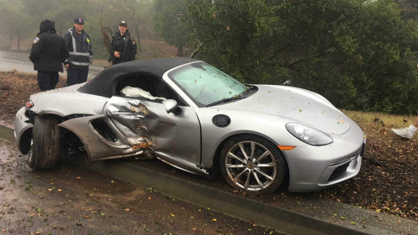 Officials investigate a crash involving a teenager who took his father's Porsche out for a spin without permission.