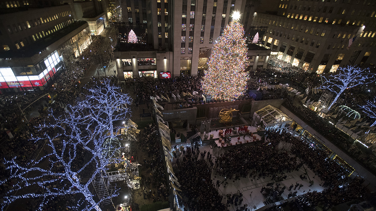 The Rockefeller Center Christmas tree is lit during the 86th annual Rockefeller Center Christmas tree lighting ceremony, Nov. 28, 2018, in New York.