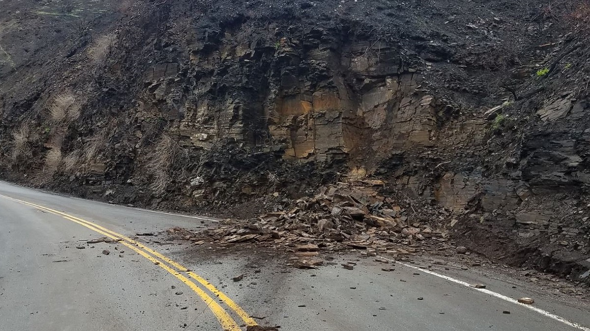 Route 23 (Decker Road) in Malibu shut down due to rock slides and storm debris on Jan. 16, 2019.