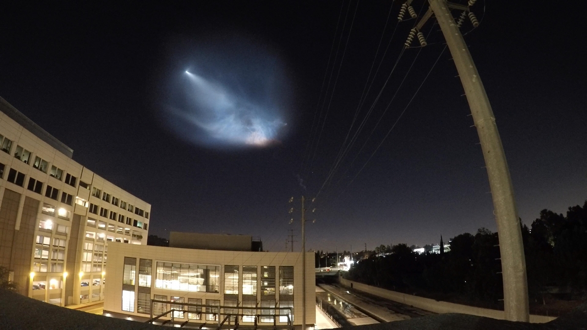 A view of the SpaceX rocket launch Sunday Oct. 7, 2018 as seen from Universal City.