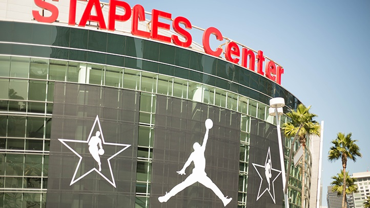 Staples Center is adorned with NBA All-Star 2018 and the Jumpman logo
