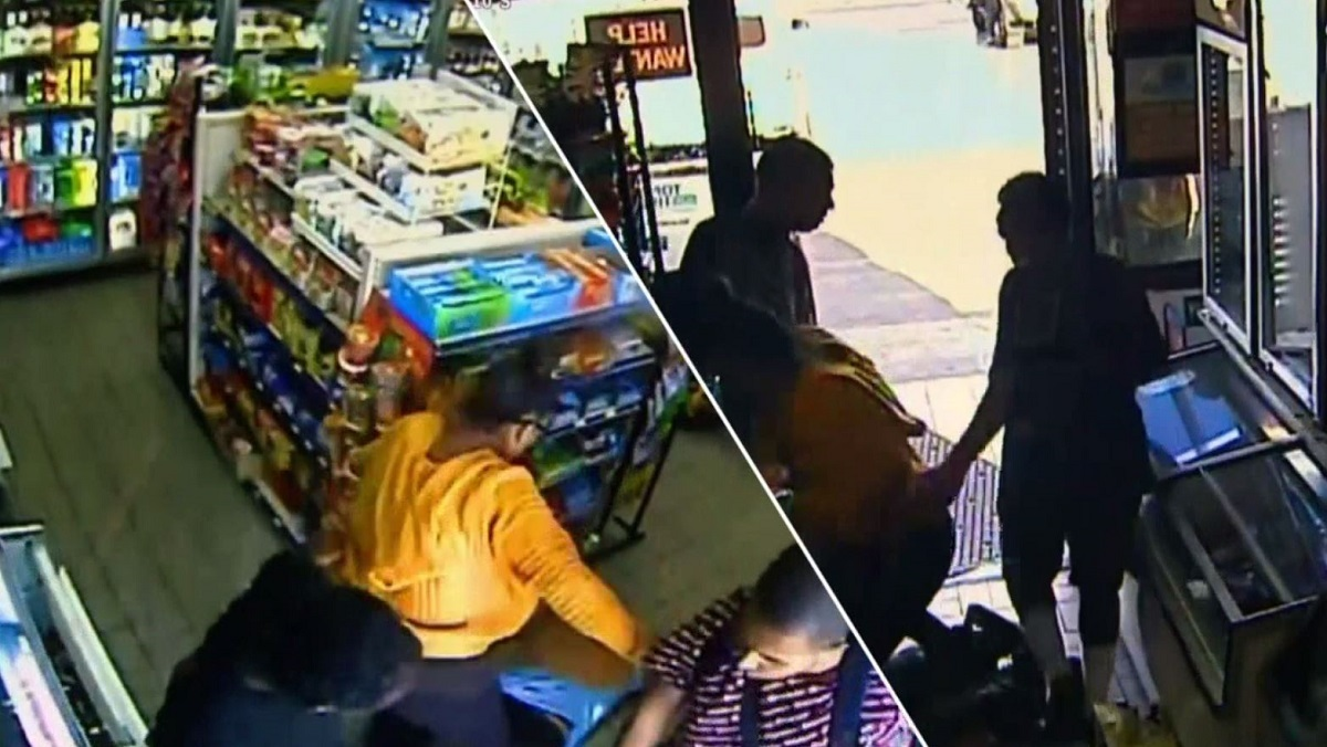 Surveillance video of an assault and robbery at an East Hollywood gas station on Wednesday.