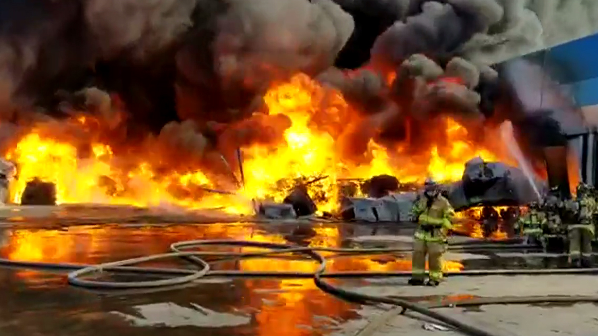 Another look at the factory fire, captured by the Tijuana Fire Department.