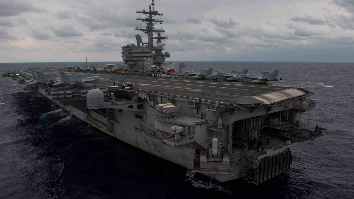 In this Nov. 20, 2017, photo, the Navy's forward-deployed aircraft carrier and flagship of Carrier Strike Group Five, USS Ronald Reagan (CVN 76), steams the Philippine Sea during Annual Exercise 2017. Annual Exercise 2017, the premier training event between the U.S. Navy and the Japan Maritime Self-Defense Force, is designed to increase the defensive readiness and interoperability of Japanese and American Forces through training in air and sea operations.