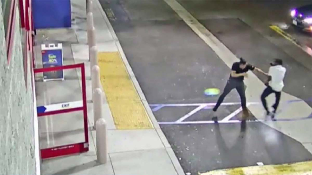 Caught on Camera: Security Guard Tussles With Phone Thief