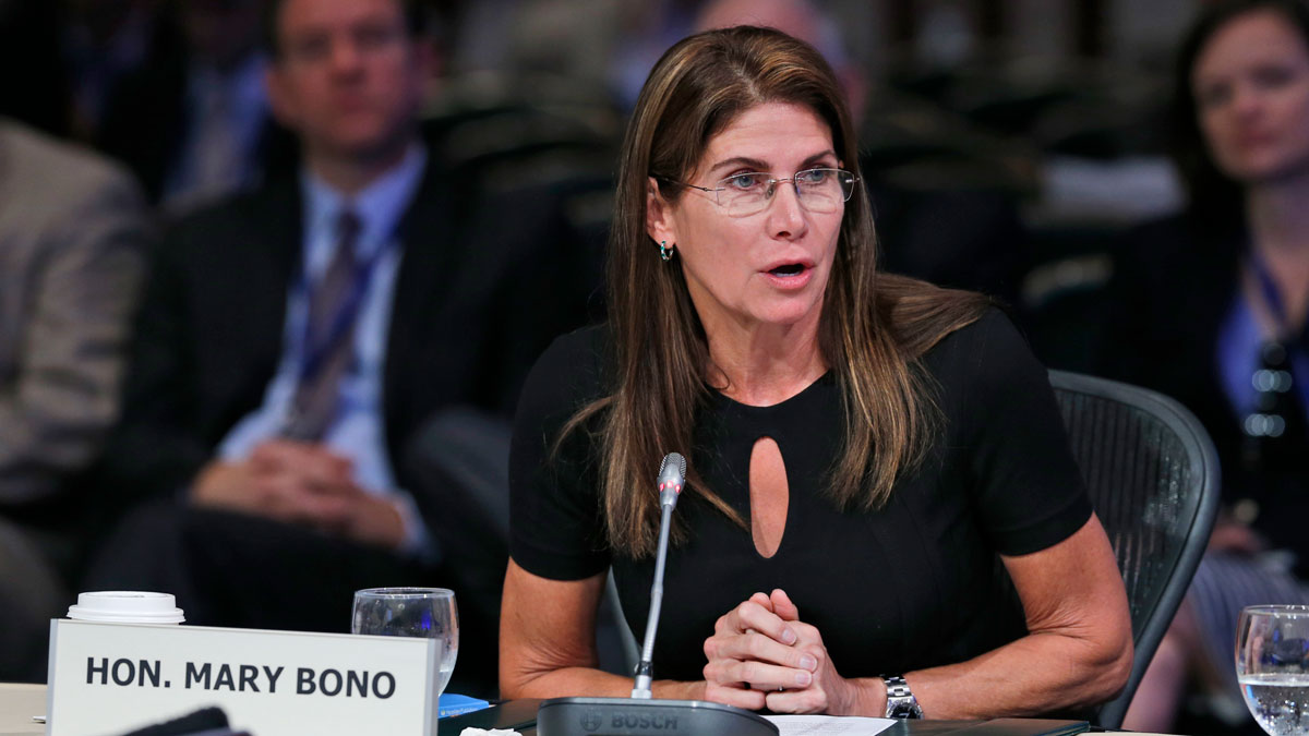 Then-U.S. Rep. Mary Bono, R-Ca., speaks during a meeting of the Joint Committee Session on addressing the Nation's Opiod Crisis at the National Governors Association Summer meeting at the Greenbrier in White Sulphur Springs, W. Va., Saturday, July 25, 2015.
