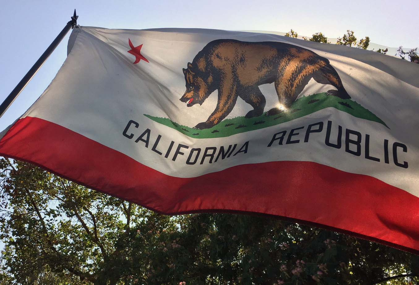 The California Republic flag is seen at a Studio City home in this undated photo.