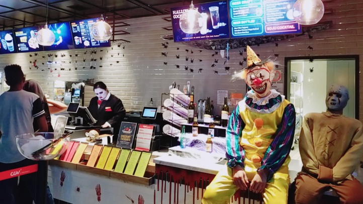 Is this a character you might encounter at the concessions counter? Be brave and enter the eerie scene, now an annual tradition at the CGV Cinemas Buena Park.