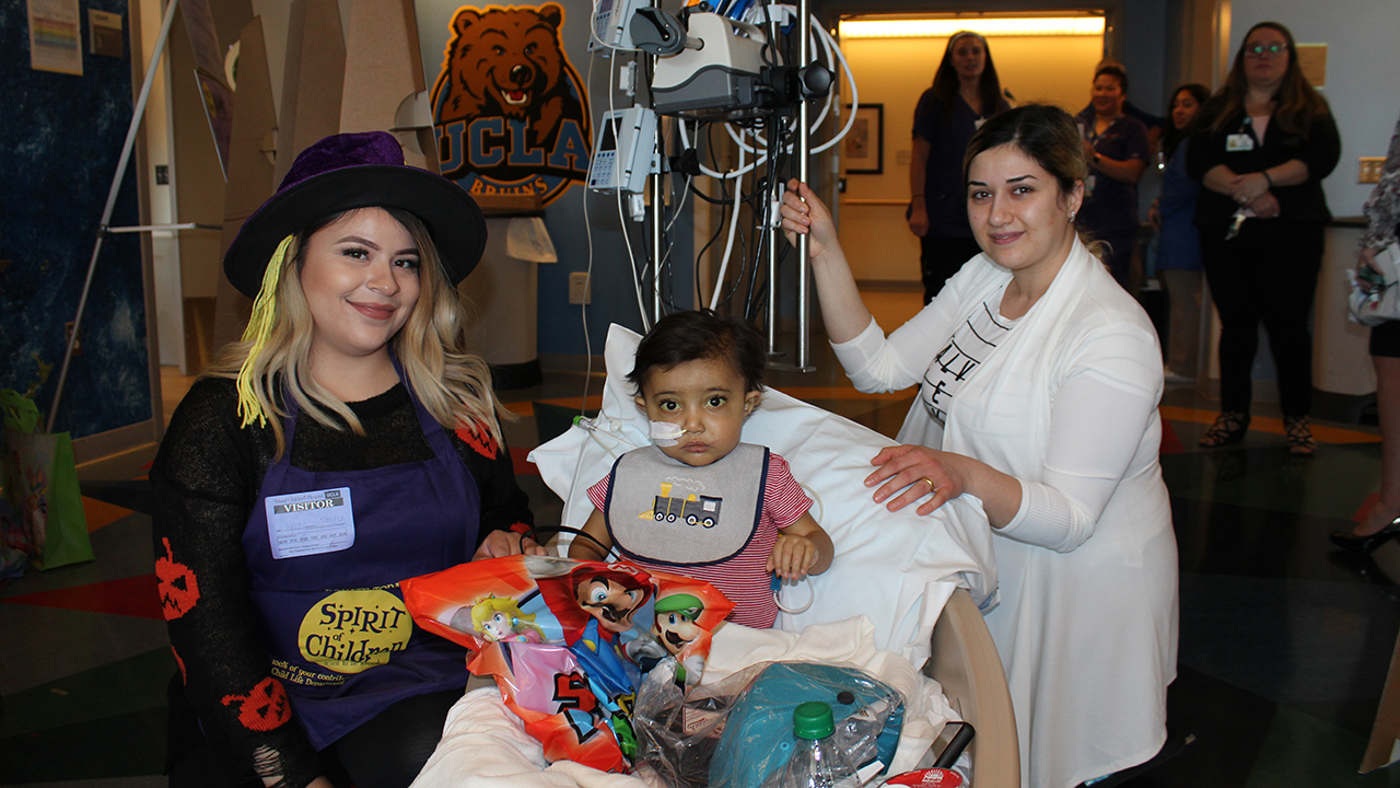 A patient poses during the Spirit Halloween party at UCLA Mattel Children's Hospital on Wednesday, Oct. 17, 2018.