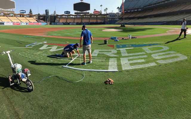 Dodger Stadium has a new look now that the boys in blue are going head-to-head with the Boston Red Sox in the 2018 World Series.