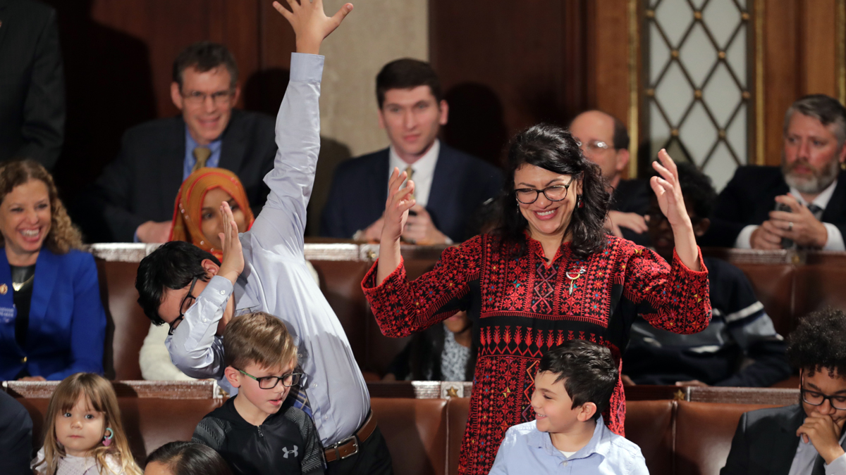 Rep.-elect Rashida Tlaib (D-MI) votes for Speaker-designate Rep. Nancy Pelosi (D-CA) along with her kids during the first session of the 116th Congress at the U.S. Capitol January 03, 2019 in Washington, DC.