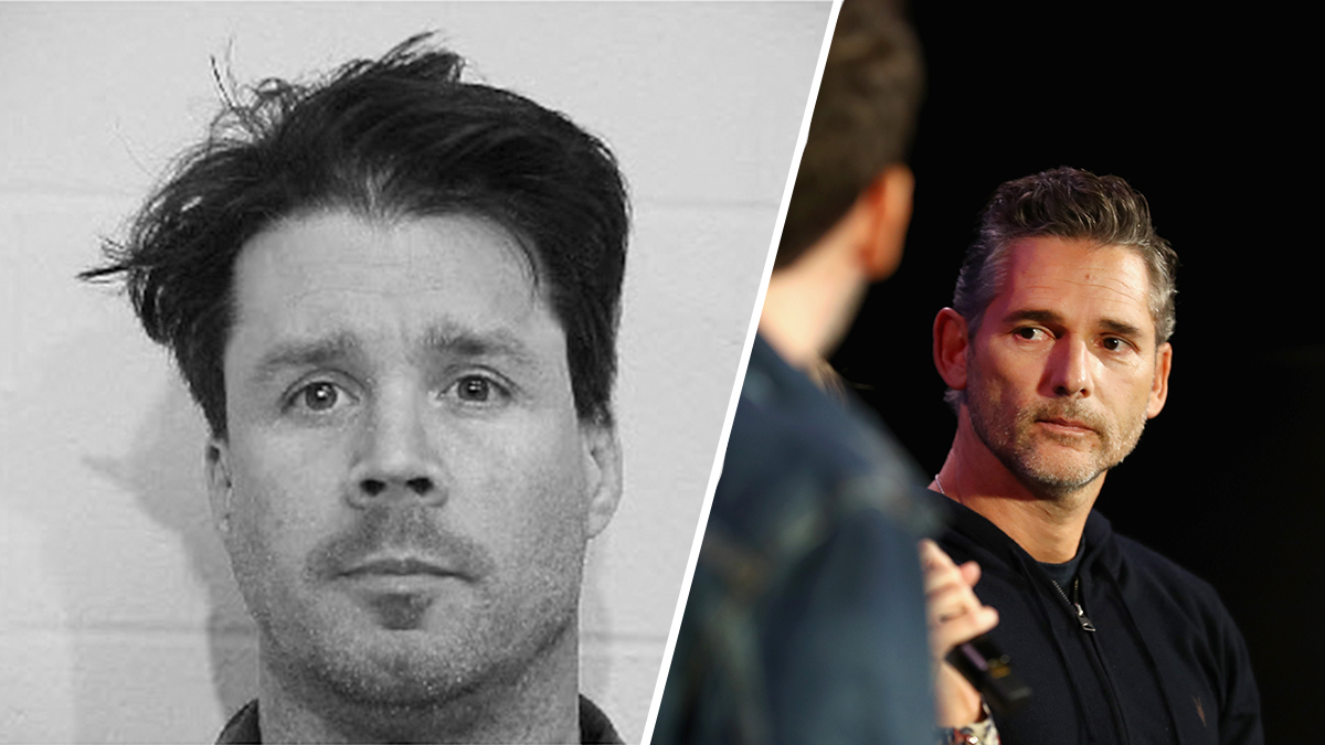 A split image of the real-life John Meehan from his stint in prison in the Michigan Department of Corrections along with a Getty image of Eric Bana, who portrayed Meehan in the Bravo series based on the podcast