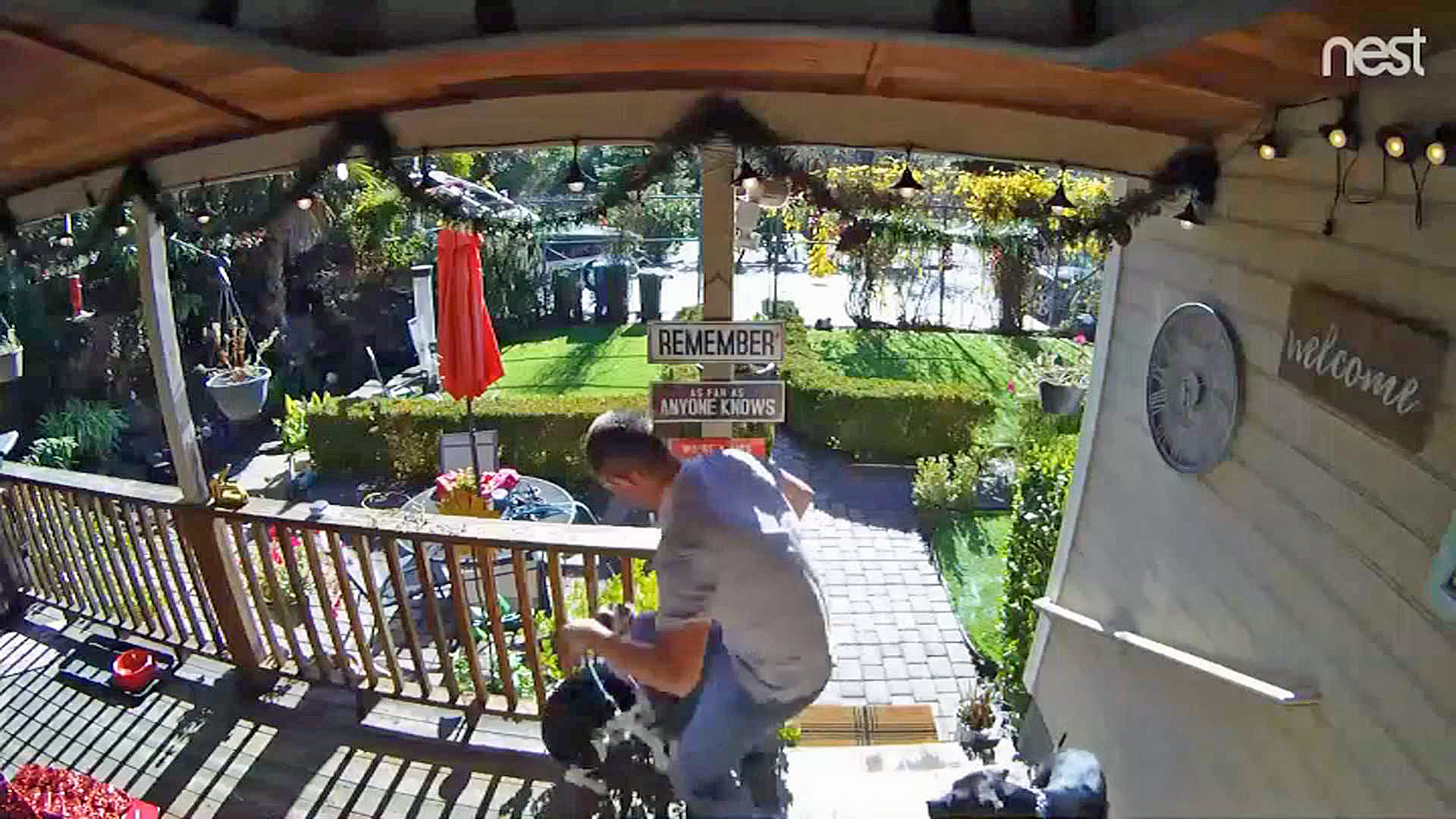 A screen shot from home security video shows a dog walker mistreating a dog at a Danville family's home.