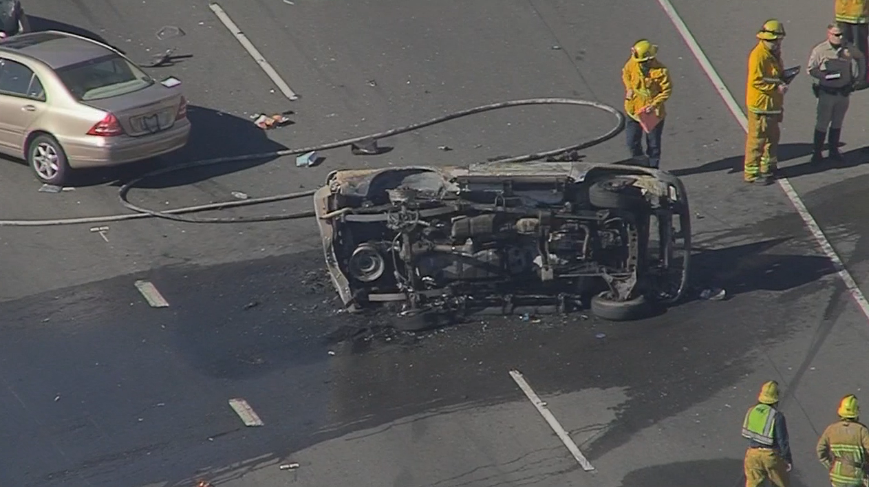 A person died in a fiery crash on the Ventura (101) Freeway in Sherman Oaks, causing a back up for miles.
