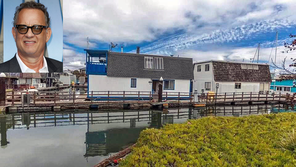 A houseboat in the Oakland-Alameda Estuary where actor Tom Hanks (inset) once lived is up for sale. (Oct. 10, 2018)