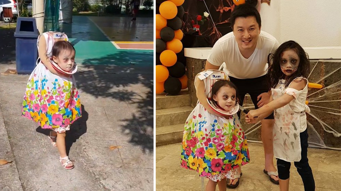 Krystel Hwang, who lives in Manila, Philippines, said she made her 2-year-old creepy costume using a $3 dress she purchased.