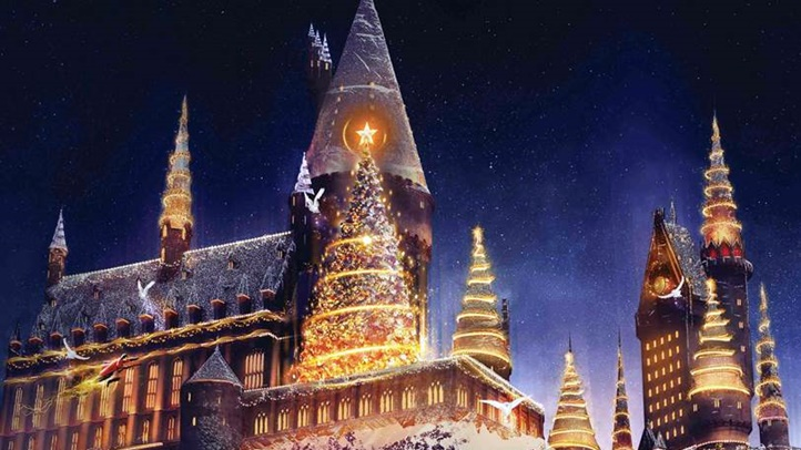 Caroling frogs and toasty butterbeer are two enchanting elements of this seasonal treat at Universal Studios Hollywood.