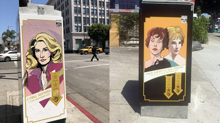 Cybil Shepherd, Carol Burnett, and Julie Andrews are three of the performers featured in the new Hollywood utility box artworks. The artworks serve as directional guides to each actor's Walk of Fame star.