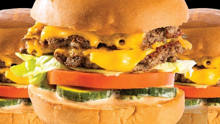 The vegetarian burger comes with two patties, miso-mustard, and a number of other flavorful additions.