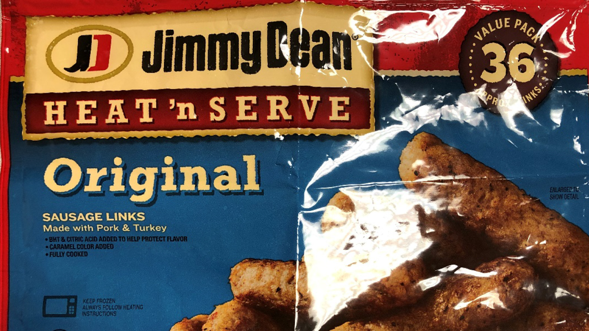 A photo of a Jimmy Dean sausage package under recall.