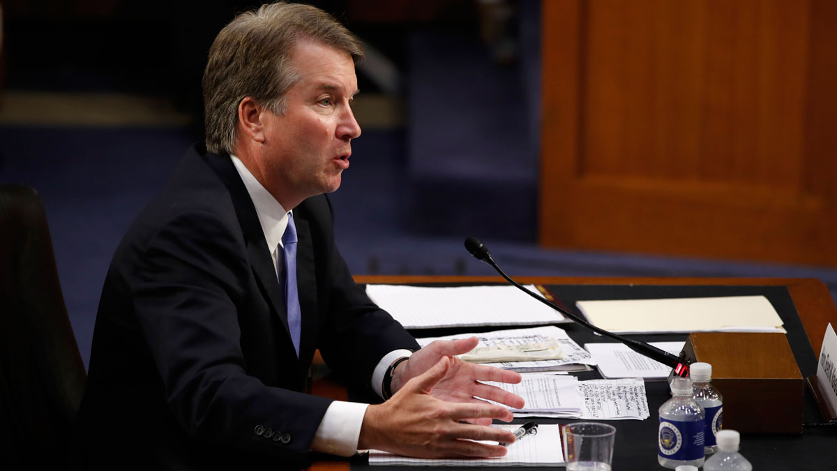 This Sept. 6, 2018, file photo shows President Donald Trump's Supreme Court nominee, Brett Kavanaugh, gesture over his notes as he testifies on the third day of his Senate Judiciary Committee confirmation hearing, on Capitol Hill in Washington.
