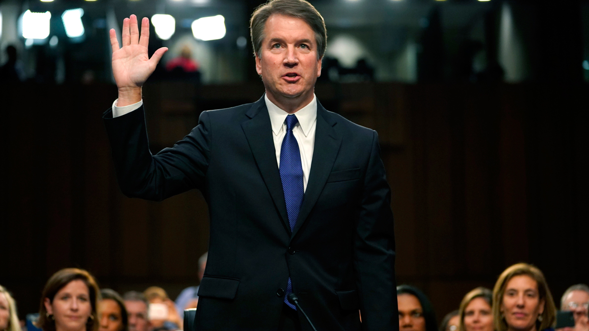 In this Sept. 4, 2018, file photo, President Donald Trump's Supreme Court nominee Brett Kavanaugh is sworn in before the Senate Judiciary Committee on Capitol Hill to begin his testimony in his confirmation hearing to replace retired Justice Anthony Kennedy.