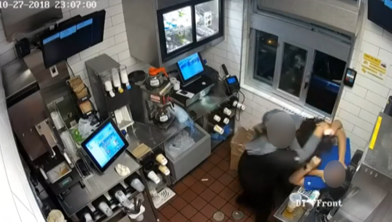 Police say a woman, upset over a missed food item in the drive-thru and ketchup, went inside a McDonald's through a back door and allegedly assaulted an employee because of it -- and it was all caught on camera Oct. 27, 2018.