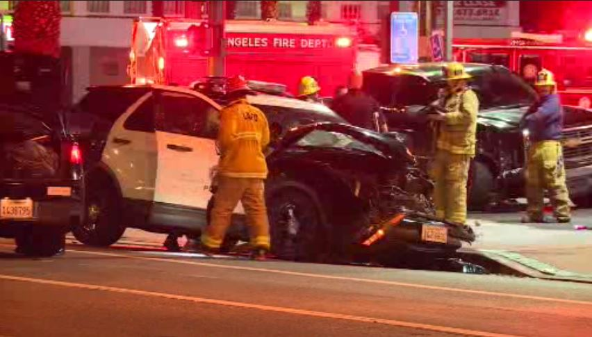 Pickup Driver Crashes Into LAPD Officers' Patrol SUV in North Hollywood