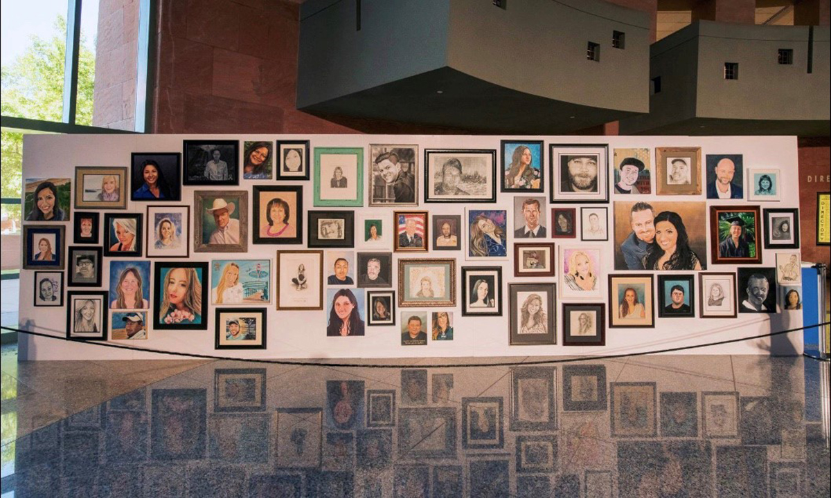 A community of artists across the globe created portraits to honor those who lost their lives on Oct. 1, 2017. The portraits will be gifted to the families.