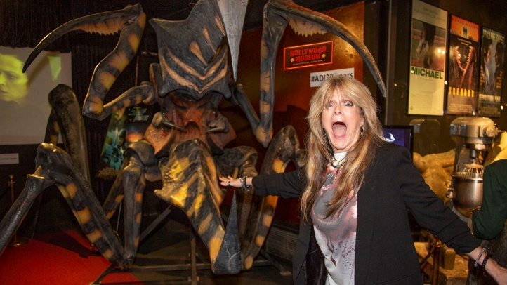 Eye three decades of monstrous make-up wizardry at The Hollywood Museum. (Pictured: Actress Susan Olsen bravely visited a