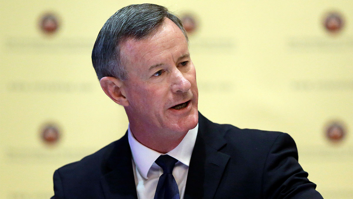 In this Aug. 21, 2014, file photo, U.S. Navy Adm. William McRaven addresses the Texas Board of Regents in Austin, Texas.