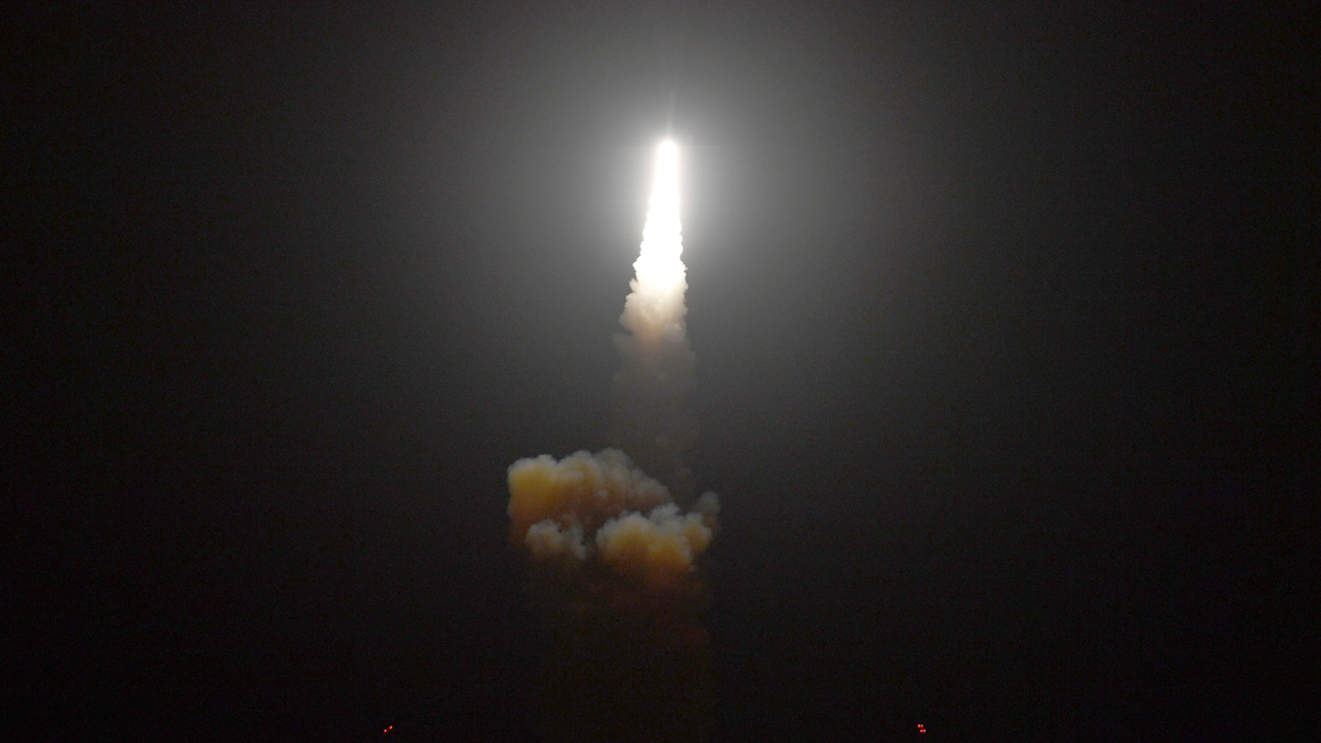This Monday, Dec. 10, 2018 photo provided by the U.S. Missile Defense Agency (MDA) shows the launch of the U.S. military's land-based Aegis missile defense testing system, that later intercepted an intermediate range ballistic missile, from the Pacific Missile Range Facility on the island of Kauai in Hawaii.