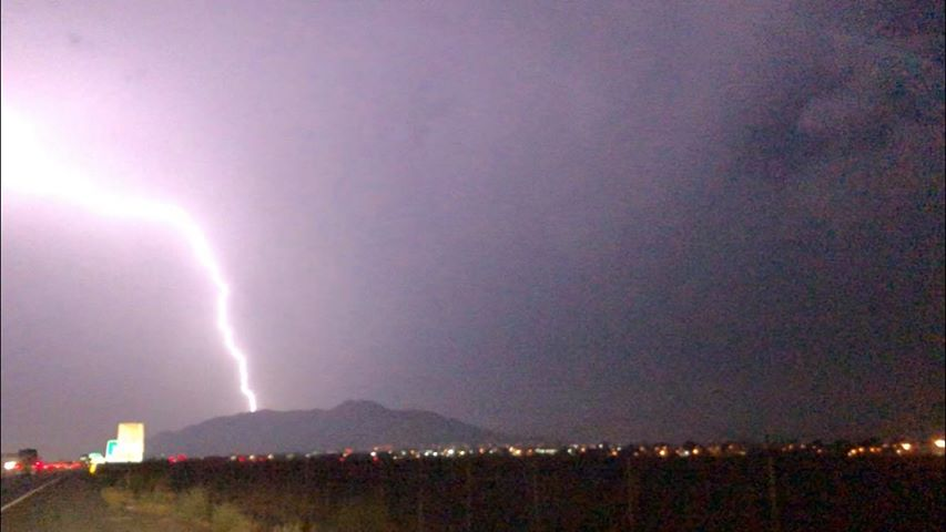 A view of a lightning flash Tuesday July 17, 2018 in Moreno Valley.