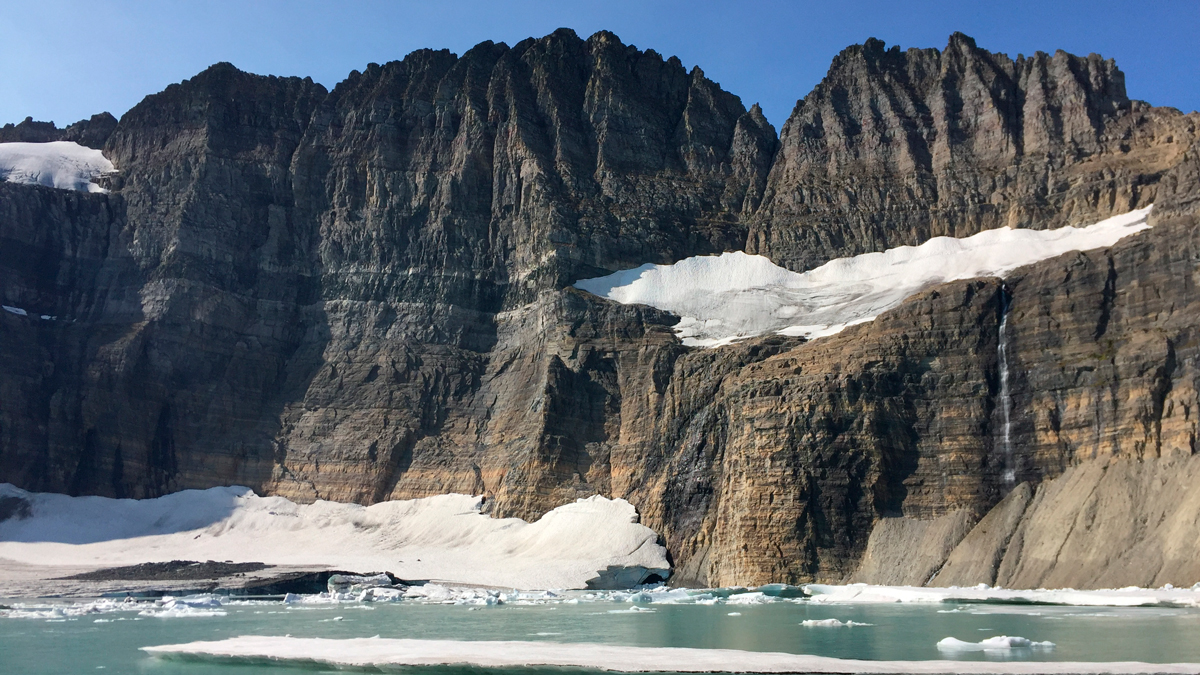This Sept. 5, 2017, file photo ,shows Grinnell Glacier at the turnaround point of an 11-mile round-trip hike in Glacier National Park in Montana.