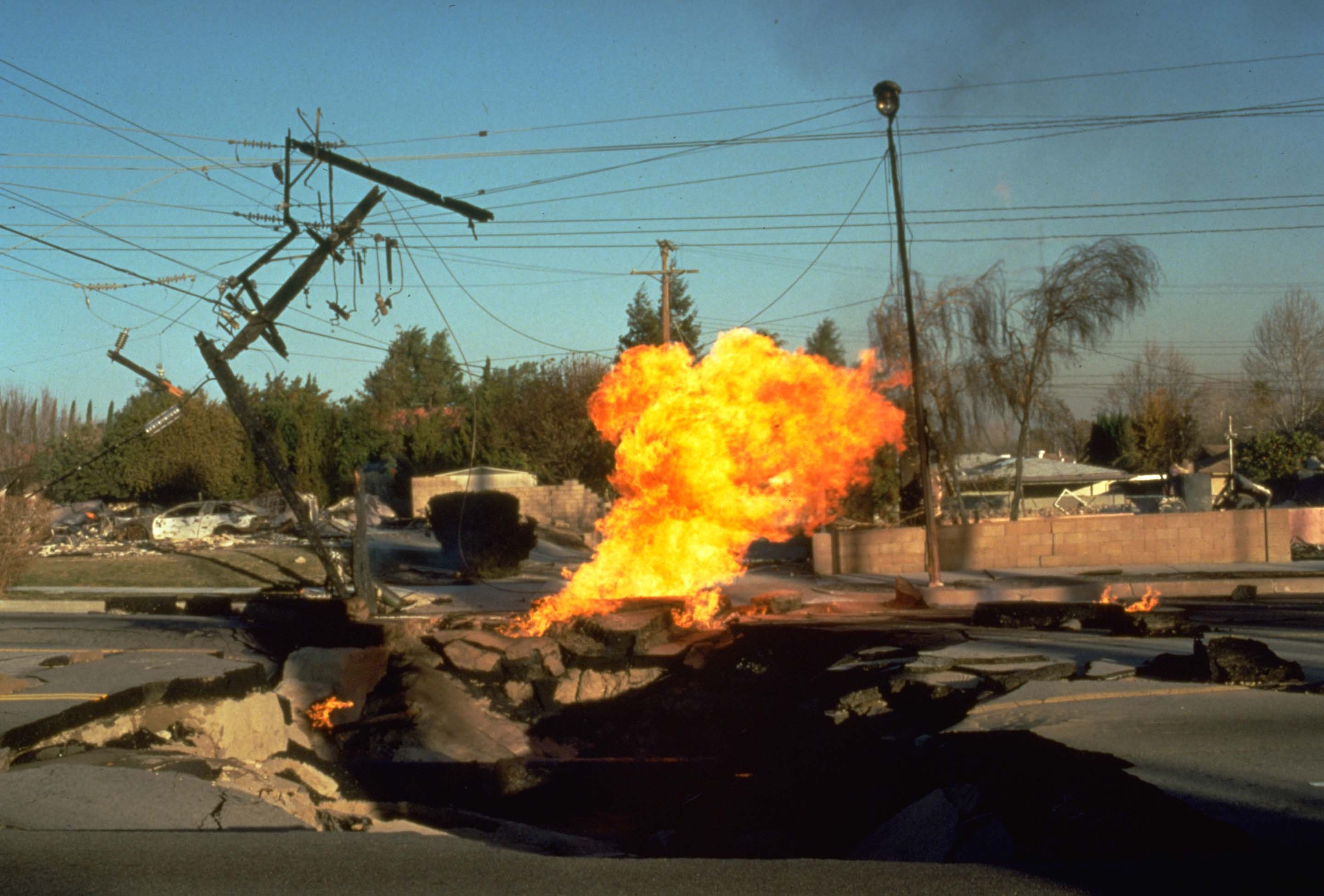 Fire fueled by a ruptured gas line burns after the Jan. 17, 1994 Northridge earthquake.