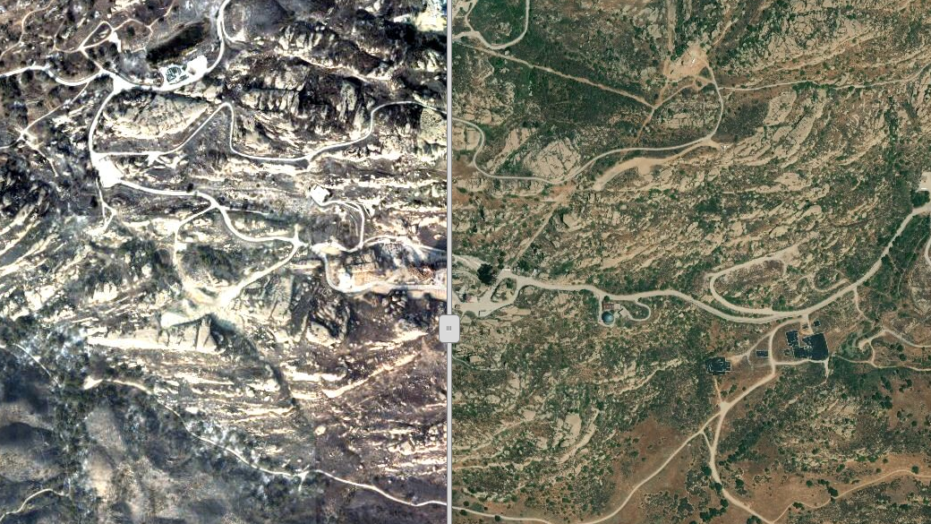 Documents and satellite images obtained by the NBC4 I-Team show about half of the 2600 acre Santa Susana Field Lab was charred by the Woolsey Fire. The images show that green vegetation that once covered the field lab is now blackened ash