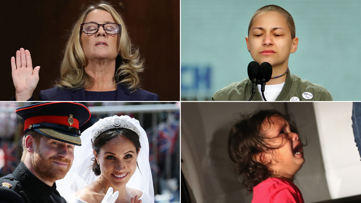 From top-left, clockwise: Dr. Christine Blasey Ford; Emma Gonzalez, a survivor of the Parkland High School shooting; a 2-year-old Honduras asylum seeker; Prince Harry and Meghan Markle, Duke and Duchess of Sussex.