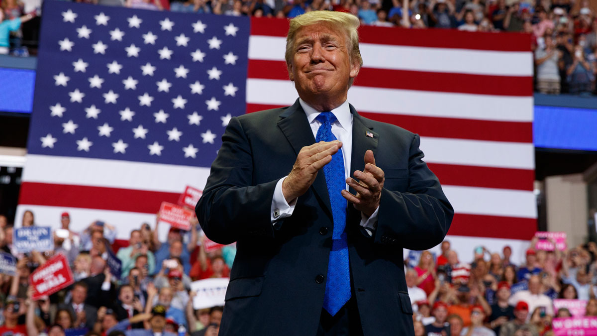This Oct. 2, 2018, file photo shows President Donald Trump arrive to speak at a campaign rally at the Landers Center Arena in Southaven, Miss.