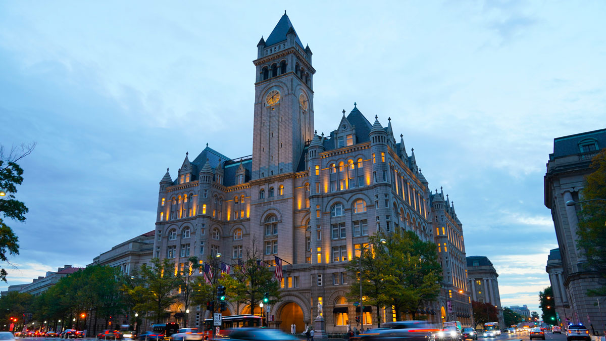 Traffic is seen moving along Pennsylvania Ave., in front of the Trump International Hotel in Washington, Friday, Nov. 3, 2017.
