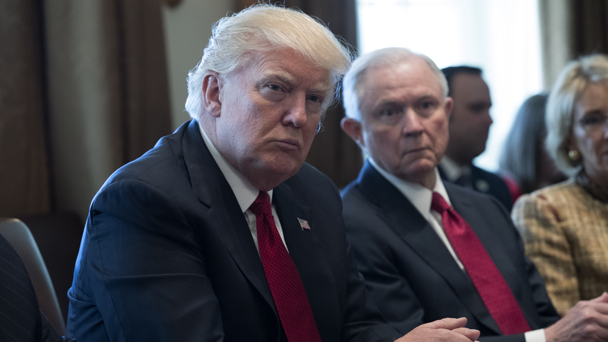 President Donald Trump, left, and Attorney General Jeff Sessions at the White House