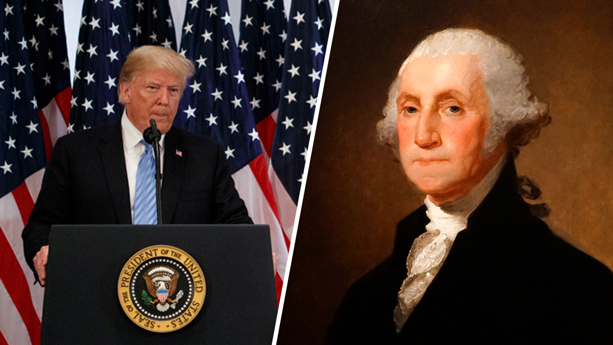 President Donald Trump speaks at a press conference on Sept. 26, 2018 (L) and an 18th Century painting of the U.S.'s first president George Washington (R)