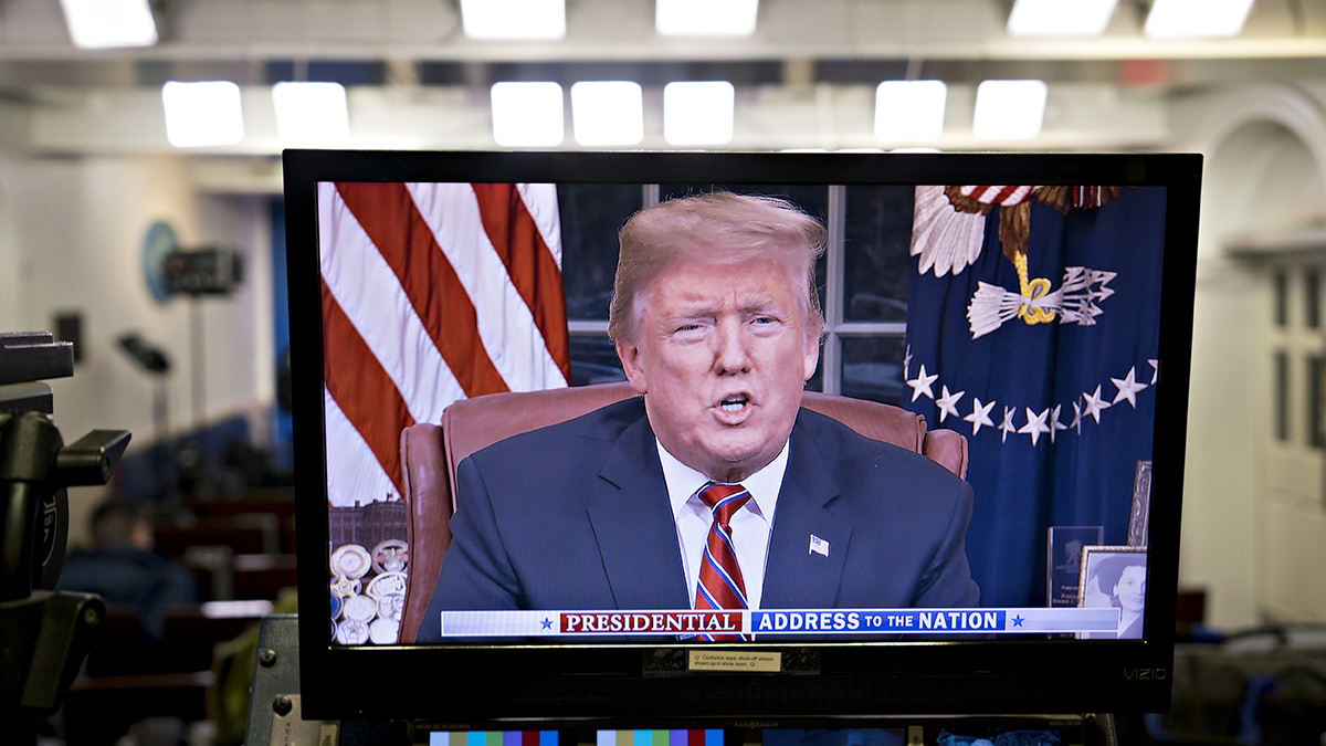 A television monitor in the White House press briefing room broadcasts President Donald Trump's address on border security in Washington, D.C., U.S., on, Jan. 8, 2019.