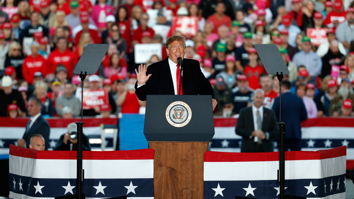 President Donald Trump speaks during a rally at Southern Illinois Airport Saturday, Oct. 27, 2018, in Murphysboro, Ill.